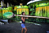 Denise de Moraes, 20, carries huge painting brush for a float at Imperio Serrano samba school in Rio de Janeiro, Brazil, February 17, 2004. The carnival parade begins February 21.(Austral Foto/Renzo Gostoli)