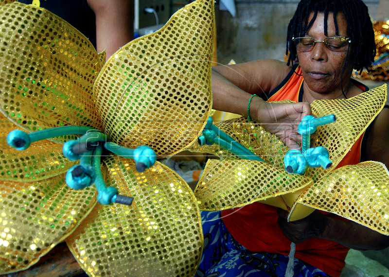 A worker prepares a float for Sao Clemente samba school in Rio de Janeiro, Brazil, Jan. 28, 2008. The float will be used during the carnival parades which begin on Feb. 02, 2008. Thousands of people work for 6 months out of the year preparing for carnival. (Austral Foto/Renzo Gostoli)