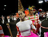 A samba dancer performs during a Renascer samba school's rehearsal at the Sambadrome, Rio de Janeiro, February 4, 2012. All week end of January and February the Rio's samba schools train in the Sambadrome for the carnival parade. The 2012 carnival start officially February 18. (Austral Foto/Renzo Gostoli)
