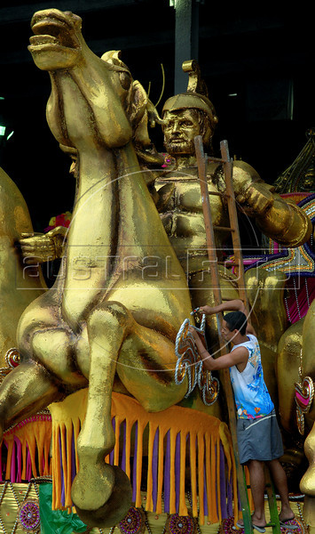 Workers prepare a float for Beija Flor samba school in Rio de Janeiro, Brazil, Jan. 28, 2008. The float will be used during the carnival parades which begin on Feb. 02, 2008. Thousands of people work for 6 months out of the year preparing for carnival. (Austral Foto/Renzo Gostoli)