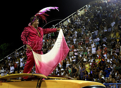 Carnival director Milton Cunha performs during a Sao Clemente samba school's rehearsal at the Sambadrome, Rio de Janeiro, February 4, 2012. All week end of January and February the Rio's samba schools train in the Sambadrome for the carnival parade. The 2012 carnival start officially February 18. (Austral Foto/Renzo Gostoli)