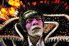A samba dancer, dressed as Dracula, waits to perform at the Sambadrome during the Sao Clemente samba school parade,  Rio de Janeiro, Brazil, February 11, 2013. (Austral Foto/Renzo Gostoli)
