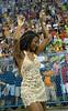 Samba dancer Dandara Machado participates in the rehearsal of the Vila Isabel samba school at the Sambadrome, in Rio de Janeiro, Jan 6, 2008. All Friday, Saturday and Sunday of January the Rio's samba school train in the Sambadrome for the carnival parade. The 2008 carnival start officially Feb. 2. (AUSTRAL FOTO/RENZO GOSTOLI)
