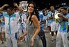 Natalia Guimaraes, Miss Brazil, participates in the rehearsal of the Vila Isabel samba school at the Sambadrome, in Rio de Janeiro, Jan 6, 2008. All Friday, Saturday and Sunday of January the Rio's samba schools train in the Sambadrome for the carnival parade. The 2008 carnival start officially Feb. 2. (AUSTRAL FOTO/RENZO GOSTOLI)