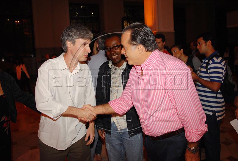 Marcelo Cajueiro e Tony Ramos na abertura da Mostra do Prêmio ACIE de Cinema 2009, Rio de Janeiro, Brazil, Maio 4, 2008. (Austral Foto/Renzo Gostoli)