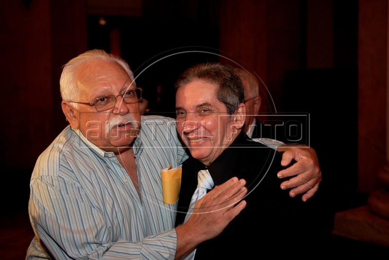 Festa de entrega dos Premio Cinema da ACIE 2009, Rio de Janeiro, Brazil, Maio 18, 2009.Nacif Elias Hidd da ACIE, Domingos Oliveira. (Austral Foto/Renzo Gostoli)