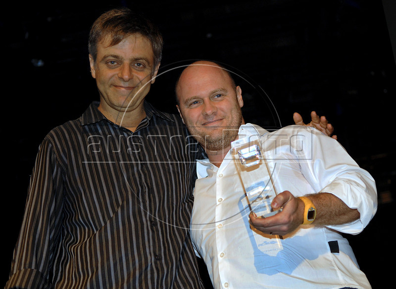 Festa de entrega dos Premios Cinema da ACIE 2009, Rio de Janeiro, Brazil, Maio 18, 2009. Sergio Goldenberg e Marcos Jorge. (Austral Foto/Renzo Gostoli)