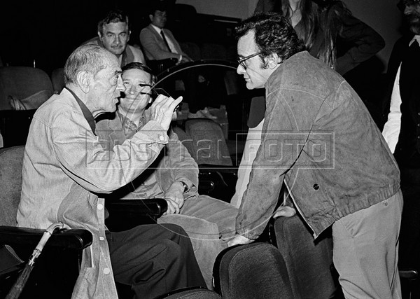 """Spanish filmmaker Luis Bunuel (1900-1983), left, assists the essay of the theatre piece """"Moctezuma"""" with mexican writer Homero Aridjis, center, and mexican thetre director Juan Ibanez, right, Mexico DF, Mexico, april 1982. Luis Bunuel, considered one of the most influential directors in the history of cinema, made, between others, the films """"Un Chien andalou"""", 1929, """"Los olvidados"""", 1950, """"The Exterminating Angel"""", 1962, """"Viridiana"""", """"Belle de Jour"""", 1967, """"Cet obscur objet du désir"""", 1977. (Austral Foto/Renzo Gostoli)"""