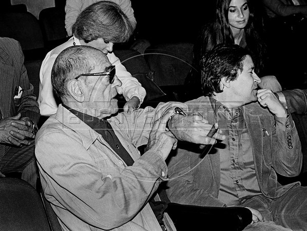 "Spanish filmmaker Luis Bunuel (1900-1983), left, assists the essay of the theatre piece ""Moctezuma"" with mexican writer Homero Aridjis, right, Mexico DF, Mexico, april 1982. Luis Bunuel, considered one of the most influential directors in the history of cinema, made, between others, the films ""Un Chien andalou"", 1929, ""Los olvidados"", 1950, ""The Exterminating Angel"", 1962, ""Viridiana"", ""Belle de Jour"", 1967, ""Cet obscur objet du désir"", 1977. (Austral Foto/Renzo Gostoli)"