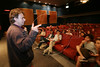 """Dutch director Joop Van Wijk speaks to movie-goers after showing his film """"Ecos of War"""" in Rio de Janeiro, Brazil, Sept. 28. 2005. More than 436 films from over 60 countries are part of the festival. The film is a documentary about the terrible effects of war on children. The story of Baba, a little elephant who must overcome the loss of his father, is presented to children from Afghanistan, Colombia, Sierra Leone and the United States who have been afflicted by and survived conflicts in their own countries.(AustralFoto/Douglas Engle)"""