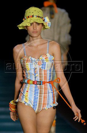 A model shows a design of Cavendish's 2010-2011 spring/summer collection during the Fashion Rio Show, Rio de Janeiro, Brazil, May 30, 2010.  (Austral Foto/Renzo Gostoli)