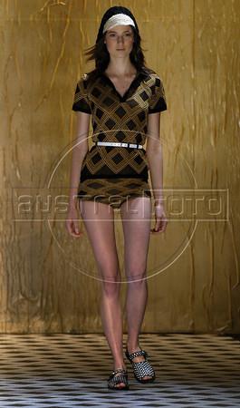 A model shows designs of Totem's 2011 autumn/winter collection during the Fashion Rio Show, Rio de Janeiro, Brazil, January 13, 2011.  (Austral Foto/Renzo Gostoli)
