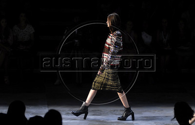 A model shows designs of Coven's 2011 autumn/winter collection during the Fashion Rio Show, Rio de Janeiro, Brazil, January 12, 2011.  (Austral Foto/Renzo Gostoli)