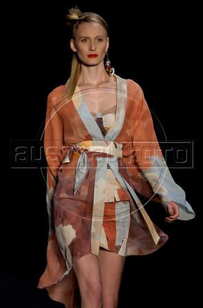 A model shows designs of Teca's 2011 autumn/winter collection during the Fashion Rio Show, Rio de Janeiro, Brazil, January 13, 2011.  (Austral Foto/Renzo Gostoli)