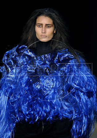 A model shows designs of Melk Z Da's 2011 autumn/winter collection during the Fashion Rio Show, Rio de Janeiro, Brazil, January 11, 2011.  (Austral Foto/Renzo Gostoli)