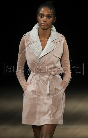 A model shows designs of Maria Bonita Extra's 2011 autumn/winter collection during the Fashion Rio Show, Rio de Janeiro, Brazil, January 12, 2011.  (Austral Foto/Renzo Gostoli)