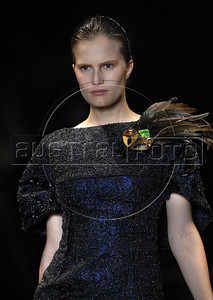 A model shows designs of Printing's 2011 autumn/winter collection during the Fashion Rio Show, Rio de Janeiro, Brazil, January 13, 2011.  (Austral Foto/Renzo Gostoli)