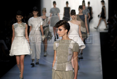 Models show designs of Acquastudio's 2011 autumn/winter collection during the Fashion Rio Show, Rio de Janeiro, Brazil, January 12, 2011.  (Austral Foto/Renzo Gostoli)