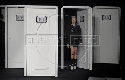 A model shows designs of Filhas de Gaia's 2011 autumn/winter collection during the Fashion Rio Show, Rio de Janeiro, Brazil, January 11, 2011.  (Austral Foto/Renzo Gostoli)