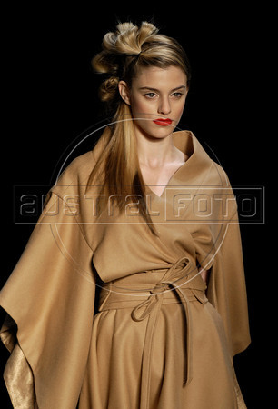 A model shows designs of Teca's 2011 autumn/winter collection during the Fashion Rio Show, Rio de Janeiro, Brazil, January 13, 2011.  (Austral Foto/Renzo Gostoli)