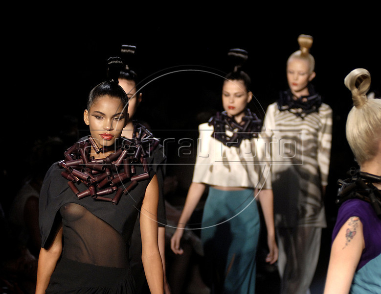 Models show designs of Filhas de Gaia's 2012 autumn/winter collection during the Fashion Rio Show, Rio de Janeiro, Brazil, January 13, 2012.  (Austral Foto/Renzo Gostoli)