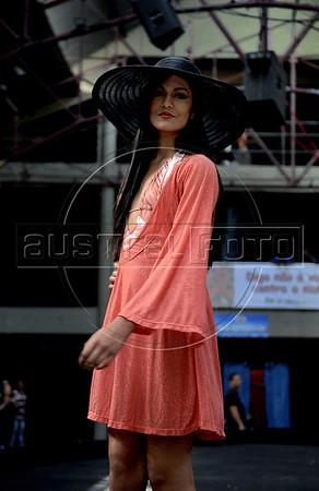 A model wears a 2012 Spring-Summer creation of Amendoeiras at Fundicao Progresso, Rio de Janeiro, Brazil, August 5, 2011. (Austral Foto/Renzo Gostoli)