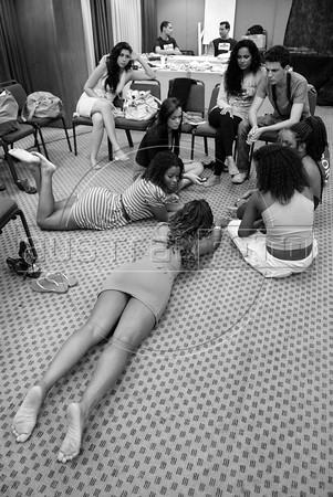 Backstage during Amendoeiras Project Summer 2012 fashion parade, Rio de Janeiro, Brazil, July 28, 2011. (Austral Foto/Renzo Gostoli)