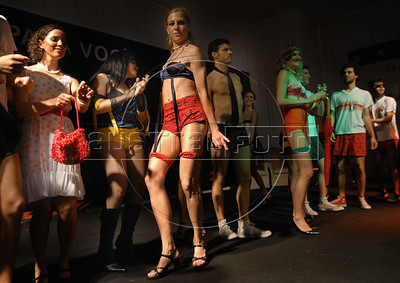 Participant performs during the Daspu prostitutes fashion show at Hot Fair, a sex fair, Rio de Janeiro, Brazil, October 30, 2010. Sex workers organisation Daspu, a wordplay on the expression 'Das Putas', that means 'the hookers' in Portuguese, participates at a sex fair with their own sensual designs and performances. (Austral Foto/Renzo Gostoli)