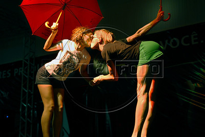 Participants performs during the Daspu prostitutes fashion show at Hot Fair, a sex fair, Rio de Janeiro, Brazil, October 30, 2010. Sex workers organisation Daspu, a wordplay on the expression 'Das Putas', that means 'the hookers' in Portuguese, participates at a sex fair with their own sensual designs and performances. (Austral Foto/Renzo Gostoli)