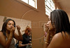 An inmate prepares to perform during a beauty pageant at the Talavera Bruce prison in Rio de Janeiro, Brazil, November 25, 2008. A jury elects the most beautiful among 15 contestants of three prisons in a beauty pageant held at the Talavera Bruce prison. The Miss Talavera Bruce Beauty Pageant is an important break from the routine life of about 330 female inmates in the maximum security prison. The Rio de Janeiro prison is a notorious Bangu area, where some of Rio's top drug traffickers are held. The fifth annual pageant, which the Viva Rio non-governmental organization helps organize, tries to transform these dangerous criminals into beautiful, dazzling, beauty pageant hopefuls for one day. (Austral Foto/Renzo Gostoli)