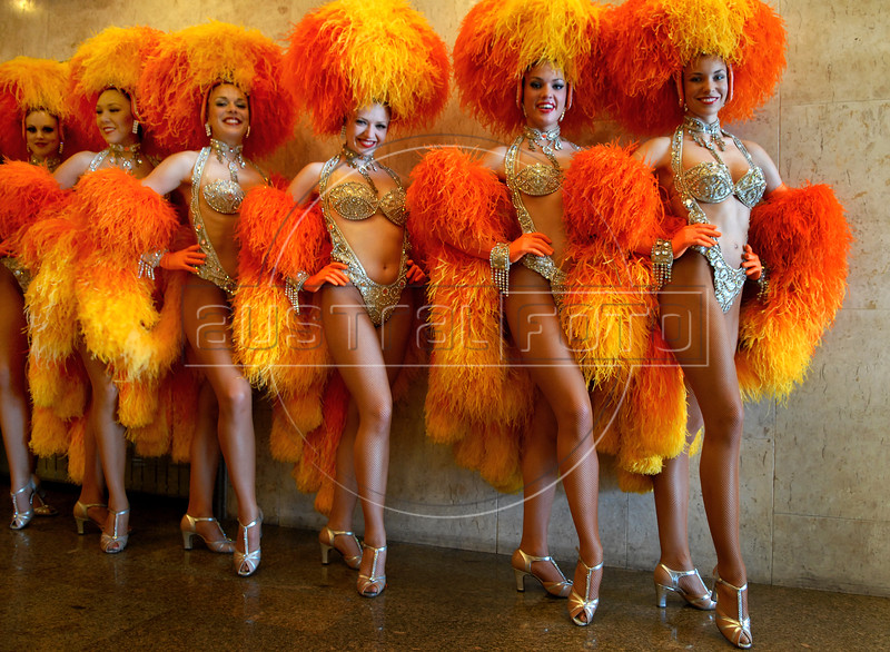 Dancers from french cabaret Moulin Rouge pose during a presentation to journalists, Rio de Janeiro, Brazil, February 20, 2009. The Moulin Rouge dancers will take part in the Grande Rio samba school carnival parade.. (Austral Foto/Renzo Gostoli)