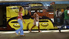 Passengers run to take a train, painted by popular artists at Central do Brasil (Brazil's Central station), Rio de Janeiro, Brazil,  Feb. 7, 2006. Popular artists Otavio and Augusto Pandolfo, knows as Os Gemeos (The Twins), Nina, Ise and Coio have paints a train with four wagons of 90 meters, inaugurated today. The work is patrocinated by Supervia, a brazilian railways company in a program to paints buildings and other trains by artists.  (FOTO:AUSTRAL FOTO/RENZO GOSTOLI)
