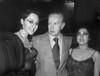"Mexican writer Juan Rulfo (1917-1986), author of ""El llano en llamas"" and ""Pedro Paramo"", with theatre actresses, Mexico D.F., Mexico, July 05, 1983. (Austral Foto/Renzo Gostoli)"