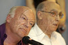 Uruguayan writer Eduardo Galeano, left, listens to comments at the World Social Forum in Porto Alegre, Brazil, Jan. 29, 2005. Jose Saramago of Portugal and 1998 Nobel Prize in literature, is at right. The eclectic gathering of pacifists, environmentalists, libertarians, trade unionists and anti-establishment militants was timed to coincide with its nemesis, the World Economic Forum held thousands of kilometers (miles) away in the swank Swiss mountain resort of Davos. (Douglas Engle/Australfoto)
