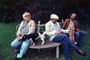 Mexican writers Carlos Monsivais, left, and Guillermo Sheridan, center, visit Villa Ocampo, the house of the argentinian writer Victoria Ocampo in San Isidro, Buenos Aires, Argentina, April 1990. (Austral Foto/Renzo Gostoli)