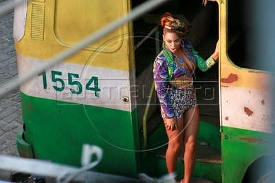 Beyonce performs during the shooting of a video clip in Rio de Janeiro, Brazil. (Australfoto)