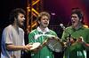 Moreno Veloso, son of famed Brazilian Musician Caetano Veloso, center, Kassin, left, and Domenico use tamborines on their encore number at the Free Jazz Festival in Rio de Janeiro, Brazil, October 20, 2000. (Australfoto/Douglas Engle)