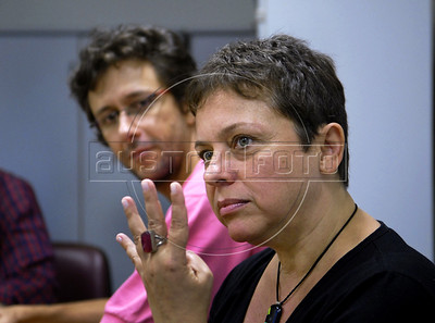 Musicians Ubirata Rodrigues, left, and Deborah Cheyne Prates, right, during press conference of OSB, Brazilian Symphonic Orchestra, Rio de Janeiro, Brazil, April 19, 2011. (Austral Foto/Renzo Gostoli)