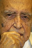 Brazilian architect Oscar Niemeyer in his office in Rio de Janeiro, Brazil, Mar. 9, 2005. Niemeyer is known for his futuristic round and curving designs, and in particular for designing most of the buildings in Brasilia, the planned Brazilian capital. Born in Rio de Janeiro in 1907, Niemeyer's formative experience was in 1934 when he joined a team of Brazilian architects collaborating with French architect Le Corbusier on a new Ministry of Education and Health in Rio de Janeiro. It was while working on this project that he met the mayor of Brazil's wealthy central state, Juscelino Kubitschek, who would later become President of Brazil. As President, he appointed Niemeyer to be the chief architect of Brasilia, a project which occupied all of his time for many years.(AustralFoto/Douglas Engle)