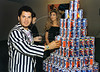 Brazilian neo-pop artist painter Romero Britto presents designs over cansvases for a collection of Pepsi corporation at Modern Art Museum (MAM), Rio de Janeiro, Brazil, 1995. (Austral Foto/Renzo Gostoli)