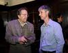 PREMIO DE CINEMA ACIE 2012 - Fernando Meirelles, diretor, esq, e o jornalista Marcelo Cajueiro, membro da ACIE, Rio de Janeiro, Brasil, Maio 7, 2012. (Austral Foto/Renzo Gostoli)