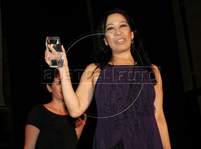 "PREMIO DE CINEMA ACIE 2012 - Ganhadora do premio ""Troféu Canal Brasil "" Nelza Oliveira, Rio de Janeiro, Brasil, Maio 7, 2012. (Austral Foto/Renzo Gostoli)"