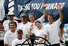 Swedish Crown Princess Victoria, second from right, poses with the crew of the Ericsson Racing team boat after an in-port race in Rio de Janeiro, March 25, 2006. The race is part of the Rio stopover of the round-the-world Volvo Ocean Race. The race departs for Baltimore on April 2.(AustralFoto/Douglas Engle)
