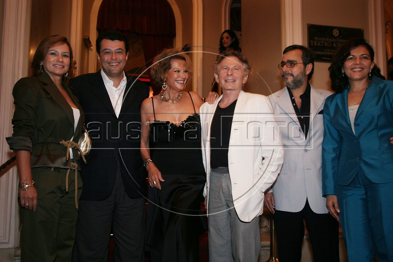 Left to Right: Amazonas state First Lady Sandra Braga, Amazon state Governor Eduardo Braga, Actress Claudia Cardinale, Director Roman Polanski, Amazonas state Culture Secretary Roberio Braga and his wife Rosa Pontes before a film at the Opera House in Manaus, Capital of the Brazilian state of Amazonas, Nov. 6, 2005. The group is attending The World Adventure Film Festival, billed as dedicated to the human spirit of adventure, from Nov. 4 through 10, 2005. The festival was launched last year by the government of the State of Amazon to highlight its role of preserving natural heritage. (AustralFoto/Douglas Engle)