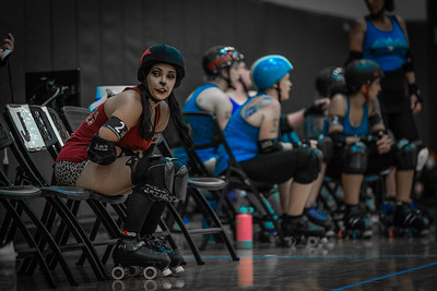 Velotta needs a time-out. Orlando Roller Derby Hellcats vs. Snowbirds Aug 2019