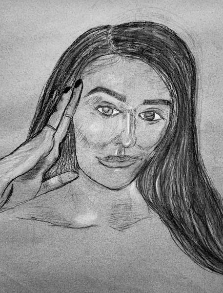 Portrait; Charcoal on paper