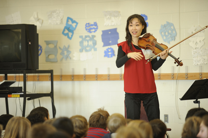 The Maia Quartet performs at Weber Elementary School in Iowa City.