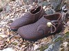 Chocolate one button moccasin; chocolate button trim in Ram design, with black underlay; Brass QuickSilver Buttons; Thin Cushi Midsole.