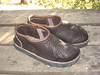 Yes, I do sometimes make clogs!  You can choose how high you want the back to be.  They have the wonderful foam footbed like the Closed Toe Sandals.  This pair is made from Chocolate Buffalo Hide, with a Chocolate Deerskin Top Welt.