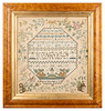 Antique cross-stitch sampler made by Susan Molton